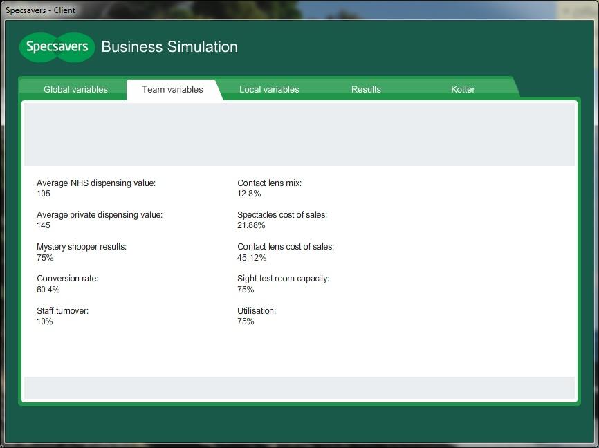 Specsavers business simulation gareth jones for Business simulator